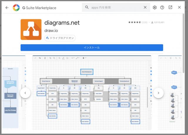 draw.ioをGoogleドライブにインストール