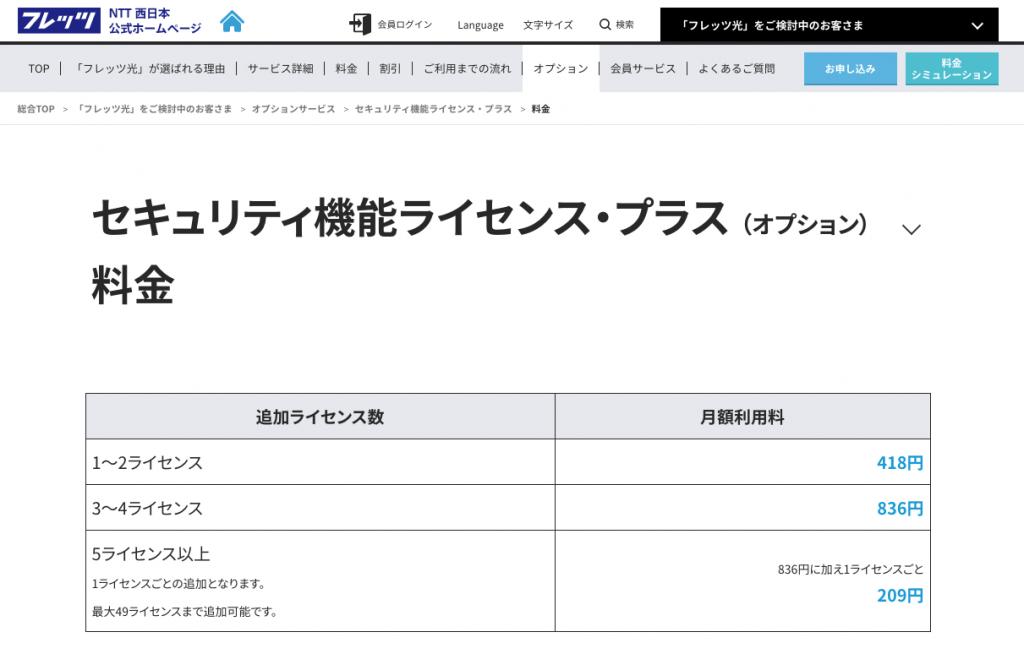 NTT西日本のセキュリティ機能のプラン